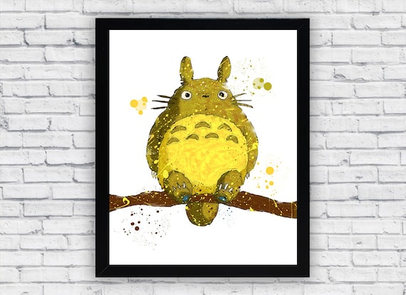 Totoro watercolor Print Art Totoro Home Decor Totoro Wall
