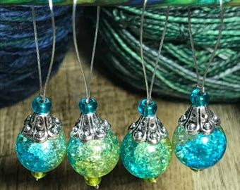 Blue Green Glass, Stitch Markers, Swirl Glass Bead, Snag Free , Set of 4, Knitting Supplies, Gift for Knitter, Elegant Stitch Marker