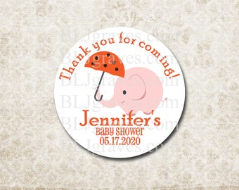 Custom Baby Shower Stickers Thank You Stickers Labels Party Favor Treat Bag Sticker Elephant Sticker SB018