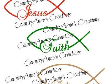 """SVG PNG DXF Eps Ai Wpc Cut file for Silhouette, Cricut, Pazzles, ScanNCut - """"Jesus, Faith, Believe"""" svg"""