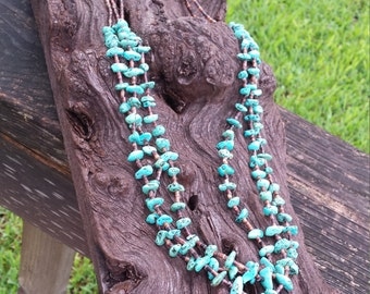 Vintage Native American Navajo natural turquoise three strand long necklace