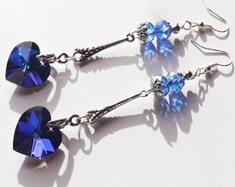 Earrings - Midnight blue crystal hearts