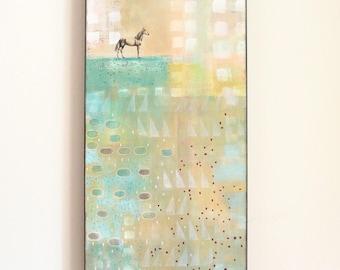 Original Horse Painting- Pastel Abstract Art , Geometric Art , Horse Lover or Veterinarian Gift