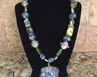 Fabulous blue green silver gem and stone necklace