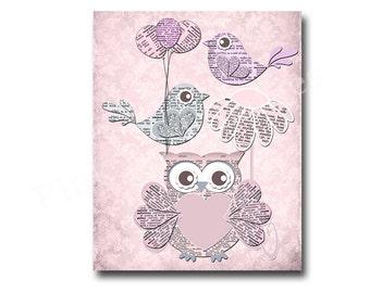 Owl nursery decor, pink owl decor, kids room decor, baby girl room decor, play room decor, nursery wall decor, girl room wall art, pink bird