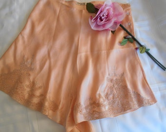 Beautiful 1930's Peach Silk Tap Pants/Lingerie