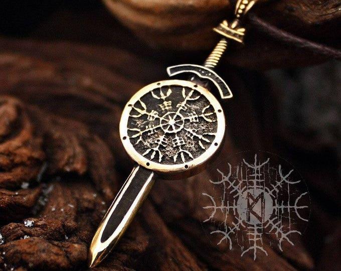 Bronze Aegishjalmur Vegvisir Sword and Shield Protection Vikings Nordic Pendant Necklace