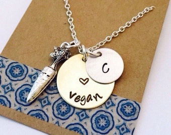 Vegan Necklace, Hand Stamped Vegan Necklace, Carrot Charm Necklace