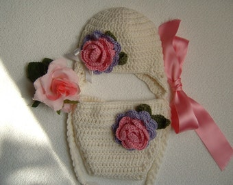 Braided cap and cover-crochet baby diaper-pure white wool hat-baby outfit for photographic set