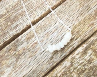 Sterling silver white moonstone chip necklace