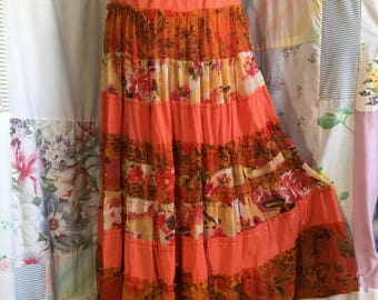 EXTRA LARGE, Skirt, Tiered Bohemian Hippie FlowerChild Boho Indie Orange Long Full Skirt