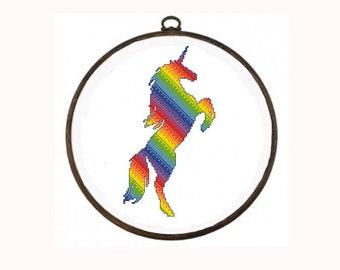 Rainbow unicorn cross stitch pattern Modern colorful xstitch chart Unique unicorn gift Counted cross stitch pattern Easy pattern PDF digital