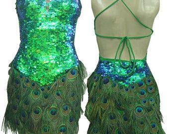 Peacock Feather Dress - Abito Penna Pavone, Sequin Feather Dress, Vegas Dress, Peacock Dress, Pfauenfederkleid, Federkleid, Robe Plume