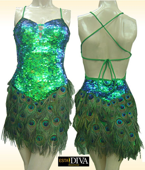 Peacock Feather Dress Abito Penna Pavone Sequin Feather