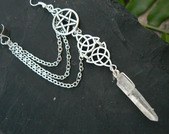 Witch Ear cuff,ONE,Wiccan ear cuff ,Pagan Goddess ear cuff,Crystal earring,Celtic Ear cuff,pentacle ,Five Elements ear cuff, Wicca