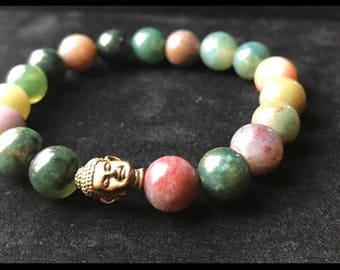 Indian Agate 10mm Bead Bracelet Perfect Positive Energy Vibes Zen Golden Buddha Head
