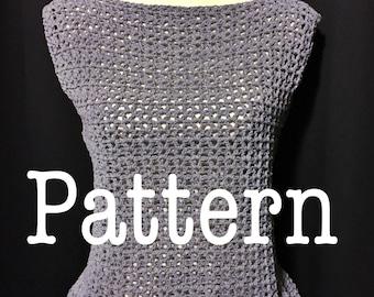 Crochet Pattern - Weekend Lover Top - Peplum Tank Top - PDF PATTERN