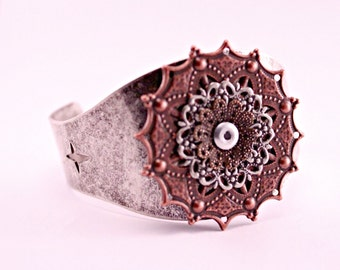 Oxidized Silver Industrial Steampunk Copper Filigree Medallion Cuff Bracelet
