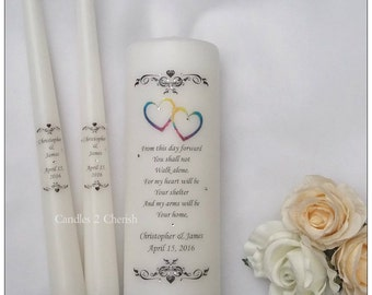 Unity Candle Set - Personalised Unity Candle - Wedding Candles - Unity Candle - LGBT Unity - LGBT Wedding - Mr and Mr - Mrs and Mrs