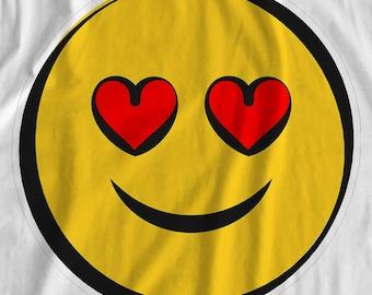 Emoji - Heart Eyes Smile - Iron On Transfer