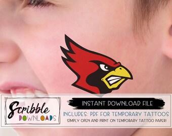 printable tattoos fake tattoos PDF Cardinals team fan Cheer cardinal mascot sports tattoo DIY tattoo Printable PDF mom digital baseball ball