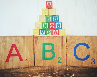 ABC Nursery decor, Large Scrabble wall art, Kids playroom accent, Alphabet tiles, Baby gift, Primary colors, Classroom decor, Teacher gift