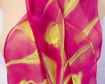 silk scarf hand painted chiffon Yellow Red Tulip unique long luxury wearable art women spring floral morgansilk scarves
