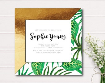 Tropical Gold Foil Bridal Shower Invitation, Tropical Party Invitation,Printable Bridal Shower Invitation, Tropical Leaf Wedding Invitation
