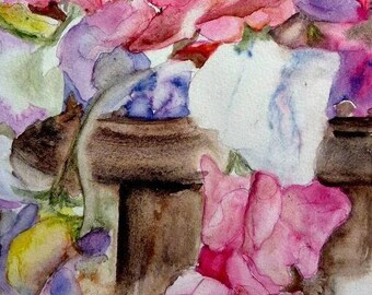 watercolor flowers on the coffee table