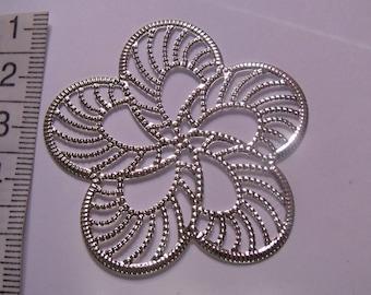 print flower, print, silver print, 50mm diameter, creation jewelry