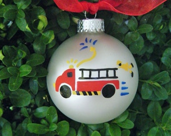 Firetruck Ornament - Personalized Truck for Birthday or Christmas - Hand Painted Glass Ball, Firetruck Birthday Party, Fireman, Red Truck