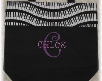 Piano bag personalized music lesson book bag keyboard black canvas embroidery student birthday recital kids back to school gift idea