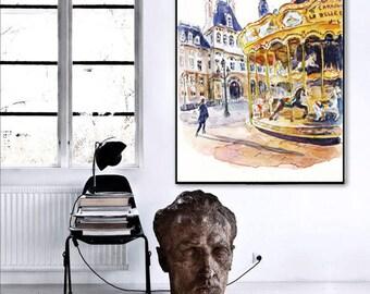 INSTANT DOWNLOAD / Large Paris Print / Paris digital watercolor painting / Paris big size / Paris Print / Paris painting / Watercolor Paris