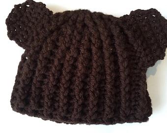 Brown baby hat, teddy bear hat, bear ears baby beanie