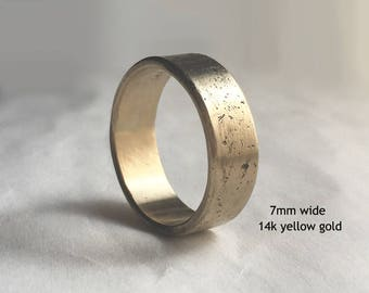Men's Distressed Gold Wedding Band, Men's Rustic Wedding Band, Men's Wedding Band, Men's Distressed Wedding Ring