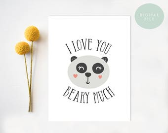 PRINTABLE Funny Anniversary Card  Valentine Card, I love you beary much, Cute Love Card, Panda Bear Card, Pun  INSTANT DOWNLOAD