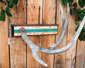 Painted Deer Antler Display Stand / Shed Jewelry Towel Hanger / Southwest Art Decor