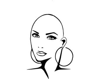 Bald Woman Cancer Survivor Alternative Therapy Balding Breast Breast CancerStrong SVG .EPS .PNG Vector Clipart Digital Circuit Cut Cutting