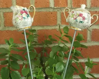 Plant Stakes- Handmade Decorative Houseplant Flower Box Stakes Crafted from Miniature Vintage Floral China Sugar Bowl and Creamer
