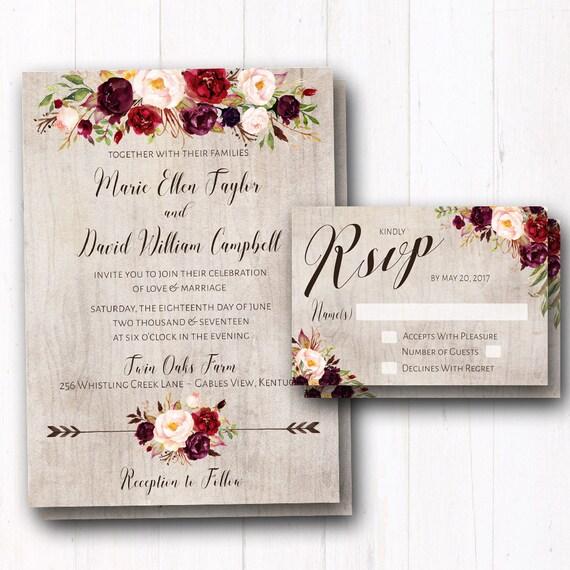 Fall Wedding Invitations: Burgundy Wedding Invitation Rustic Fall Wedding Invites