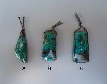 Large Chrysocolla Pendant, Parrot Wing Chrysocolla Bead,Turquoise Pendant,Drilled Pendant Bead,Large Rectangle Pendant,Chrysocolla Cabochon