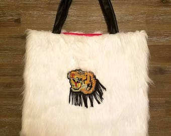 Tiger Head,Snow Faux Fur  Shoulder Bag with Embroidered  Patch,Bead,Gold,Silver,Stars,Woman,Gift,Christmas,Pink,Embroidery,Leather,white