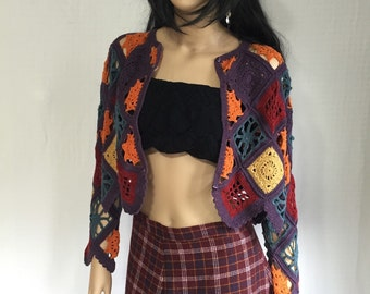 RESERVE for YUKO Vintage 90s Granny Square Sweater - Retro Boho Hippie Crochet Colorful Sweater - Purple Orange Red Yellow Blue Gypsy Cardig
