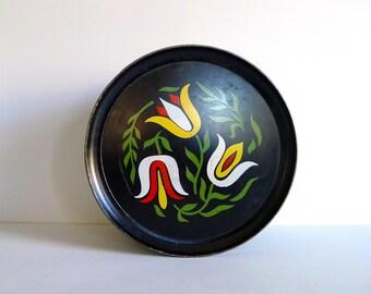 Vintage Pennsylvania Dutch Tulip Style Metal Tin by Guildcraft