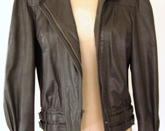 1980s 80s SLATE GREY Leather Racer Jacket GRAY Moto Puff Sleeve Feminine Coat