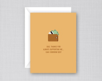 Supportive Dad Card | Funny Father's Day Card | Dad's Wallet Card