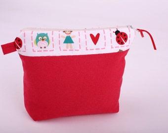 Mini zipper pouch red make up bag utility pouch fabric pouch multi purpose pouch makeup case makeup bag gadget holder coin purse kids pouch