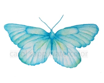 butterfly painting-watercolor butterfly-blue green butterfly-aqua butterfly-turquoise butterfly-butterfly art-archival print-butterfly