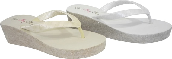 Wedge Bridal Flops bride Wedding gold bling or glitter the Party for silver with Champagne Flip and ivory amp; White rTrwC