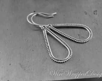 Earrings - Sterling Silver Paisley Drop Earrings - Boho Style, Bali Style, Elongated Earrings, Drop Earrings, Celebrity Style